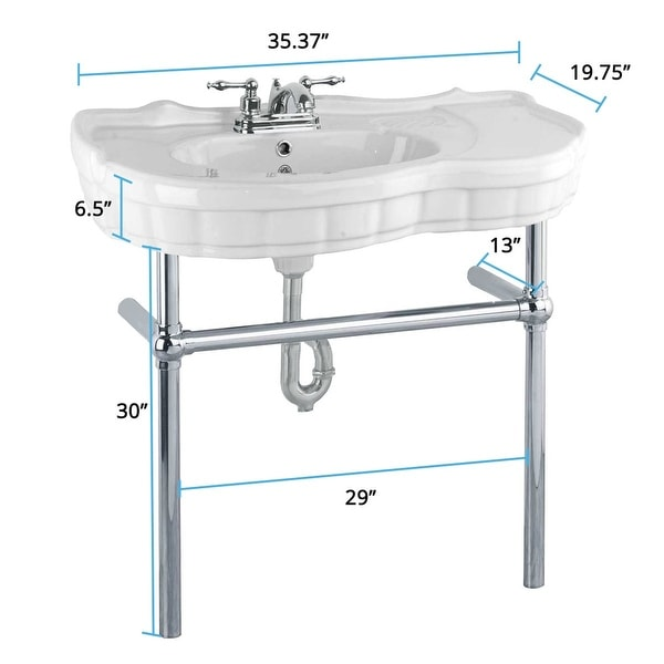 White Vitreous China Console Sinks Southern Belle Chrome Bistro Belle Leg Frame. Opens flyout.