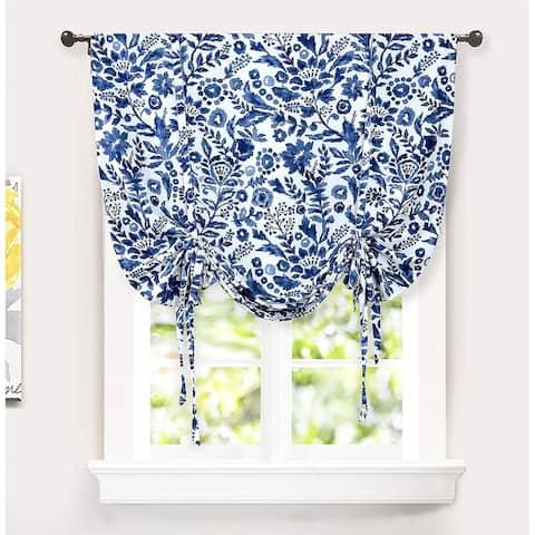 Porch & Den Ouzel Floral Watercolor Tie Up Single Curtain Panel