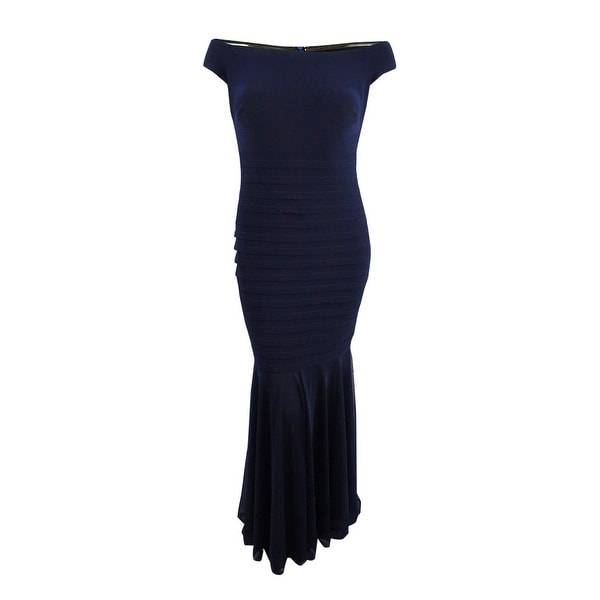 3609a7a5b672e Shop Xscape Women's Plus Size Off-The-Shoulder Mermaid Gown - Navy - Free  Shipping Today - Overstock - 22109396