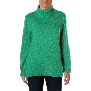 Anne Klein Womens Turtleneck Sweater Cable Knit