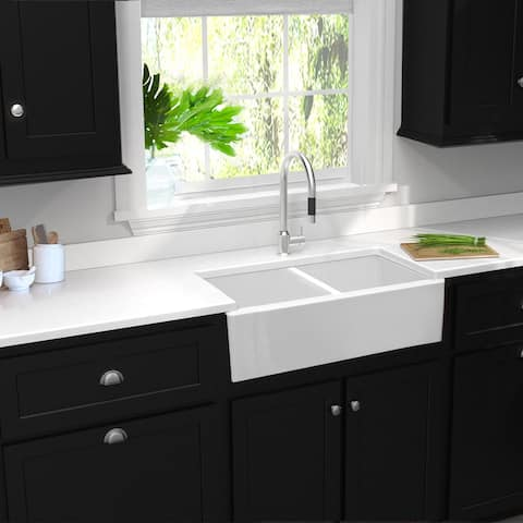 Highpoint Collection Double Bowl Fireclay Farmhouse Sink - 33 x 18 x 10