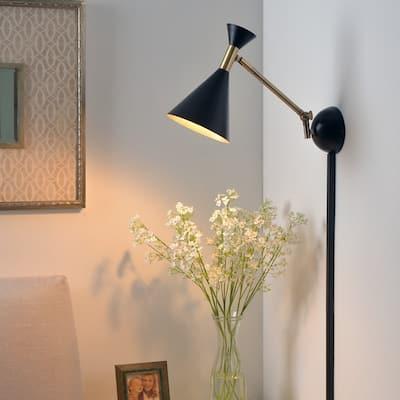 Draper 1-Light Plug In Swing Arm - Matte Black