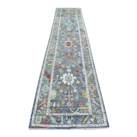"""Shahbanu Rugs Oushak with Colorful Motifs Hand Knotted Soft Afghan Wool Charcoal Gray Oriental XL Runner Rug (2'9"""" x 14'0"""")"""