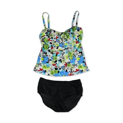 Island Escape Womens Tahiti Ruffled Hi Waist Pant 2 Piece Bandini, Blue, 14