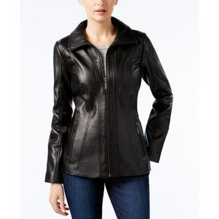 Anne Klein Women's Convertible Collar Zip-front Leather Jacket Black Small