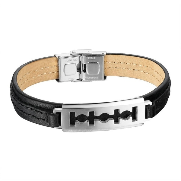 Black Leather Bracelet Mens Razor Blade Wrist Band Stainless Steel Unique