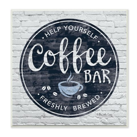 Stupell Industries Urban Coffee Bar Brick Patterned Cafe Sign Wood Wall Art,12x12 - Blue