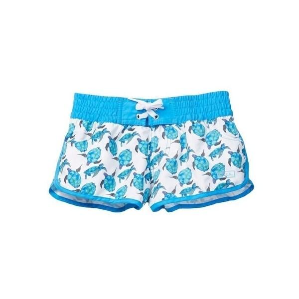 c60f498218 Azul Little Girls White Aqua Turtle Blue Hawaii Print Elastic Band Swim  Shorts