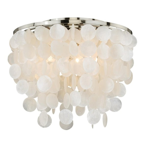 Vaxcel Lighting C0079 Elsa 3 Light Flush Mount Indoor Ceiling Fixture with Organic Capiz Shell Shade - 16 Inches Wide
