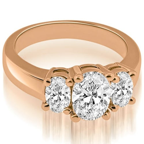2.00 cttw. 14K Rose Gold Three Stone Oval Cut Diamond Engagement Ring