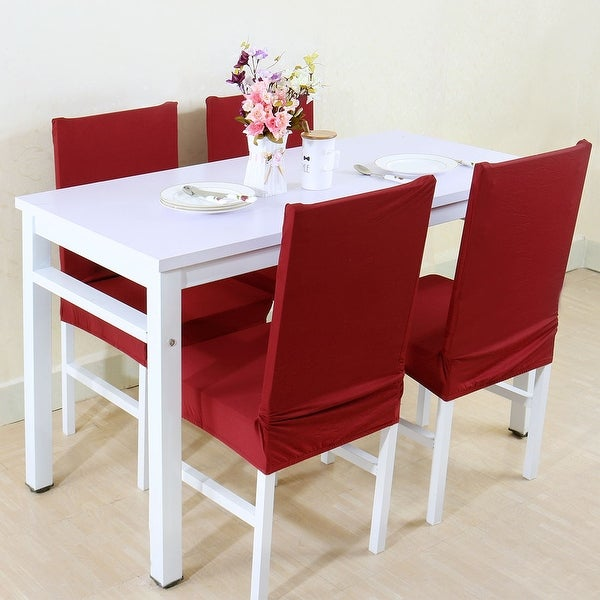 Unique Bargains Burgundy Spandex Stretch Washable Dining Chair Cover
