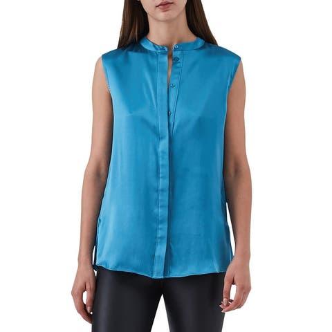 Reiss Women's Pleated Satin Mandarin Collar Button Blouse Silk