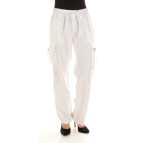 MICHAEL KORS Womens White Pocketed Straight leg Wear To Work Pants Size: XS