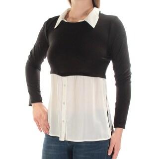 BCX $39 Womens New 1242 Black Ivory Layered Look Long Sleeve Top M Juniors B+B