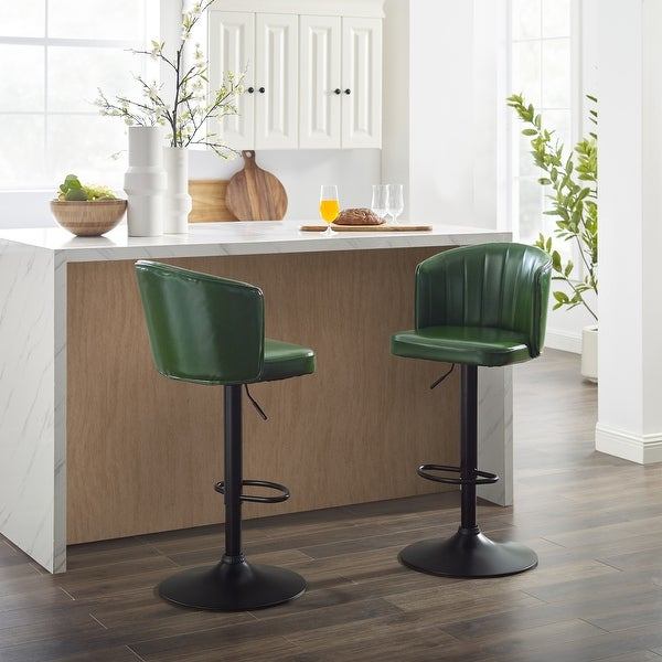 Art Leon Faux Leather Adjustable Height Swivel Barstool. Opens flyout.