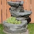 Sunnydaze Solar Garden Water Fountain with Planter, 19 Inches Tall - Thumbnail 0