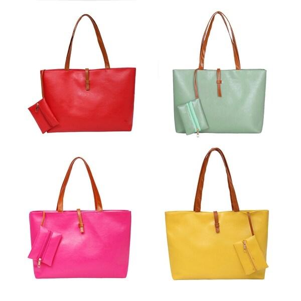 5f79359e5e75 Women Faux Leather Tote Shoulder Bags Fashion Handbags Satchel Purse Gift