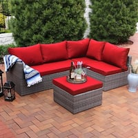 Sunnydaze Port Antonio 4-Piece Wicker Patio Sofa Set with Dark Red Cushions