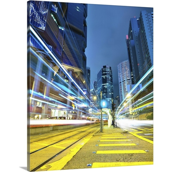 """""""Traffic trails in city at night."""" Canvas Wall Art"""