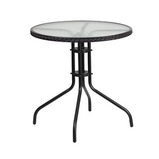 Offex 28'' Round Tempered Glass Metal Table with Black Rattan Edging