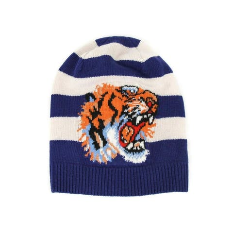 Gucci Men's Blue / White Striped Wool Knit Beanie Hat With Tiger Head M / 58 500929 4278 - M / 58 / 8.66