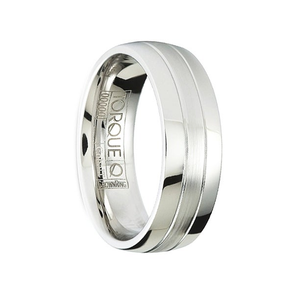 DRAKE Polished & Brushed Comfort-Fit Cobalt Wedding Band with Dual Grooves by Crown Ring - 7mm