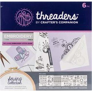 Sewing 6/Pkg - Crafter's Companion Threaders Embroidery Transfer Sheets