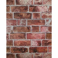 York Wallcoverings HE1044 Brick Wallpaper - brick red/cement gray/burgundy - N/A