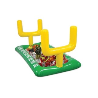 Pack of 6 Green Inflatable Football Field with Yellow Goal Posts Game Day Buffet Coolers 53.75""