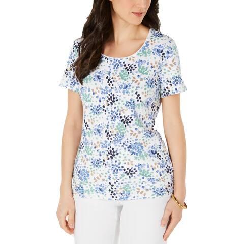 Karen Scott Womens T-Shirt Jewel Neck Dotted - Intrepid Blue