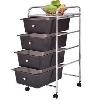 Costway 4 Drawers Metal Rolling Storage Cart Scrapbook Supply & Paper Home Office