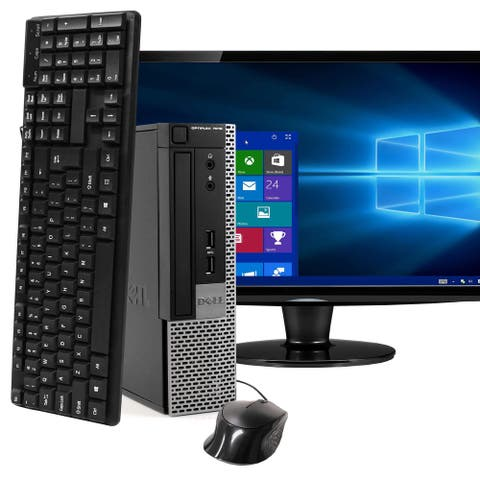 "Dell OptiPlex Ultra Small Computer Intel i5 22"" LCD Monitor 120GB SSD Windows 10 - Black"