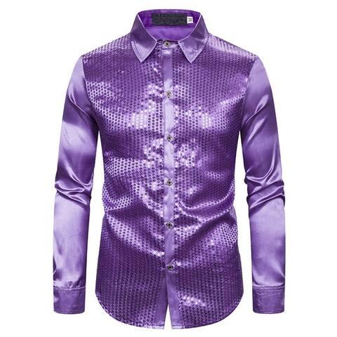 Mens Sequin Shirt Long Sleeve Slim Fit Silk Like Satin Disco Dance Prom Dress Shirt