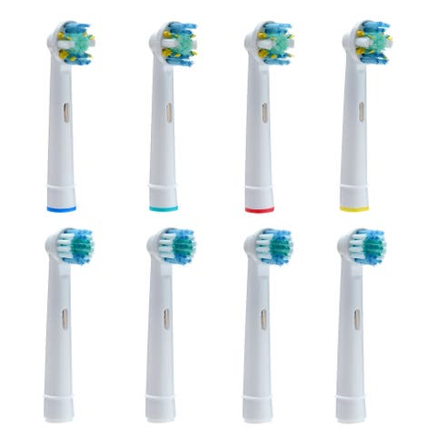 Wadeo 8PCS Replacement Electric Toothbrush Heads Regular Brush Heads Soft Round Heads for Oral B Braun - L
