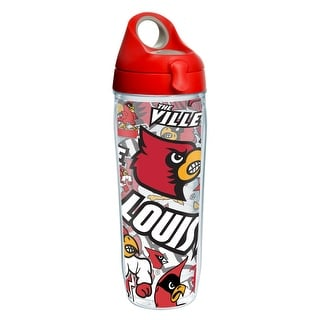 NCAA Louisville Cardinals All Over 24 oz Water Bottle with lid