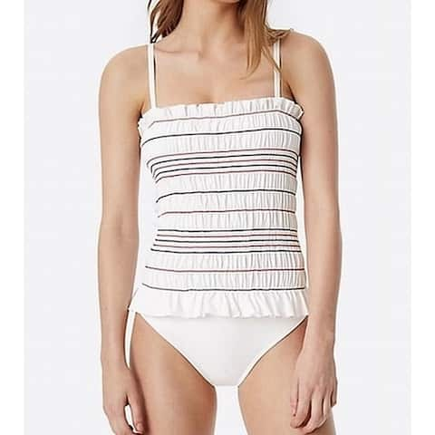 Tory Burch Womens Swimwear White Size Large L Shirred One-Piece