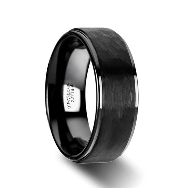 THORSTEN - REBEL Raised Hammer Finish Step Edge Black Tungsten Carbide Wedding Band with Brushed Finish