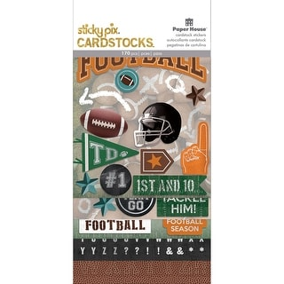 Paper House Sticky Pix Cardstock Multi Pack 5/Pkg-Football - Football