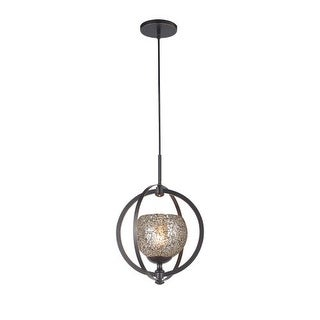 Woodbridge Lighting 13320MEB-MIR 1 Light Foyer Pendant with Mirror Mosaic Glass from the Cirque Collection - Gold