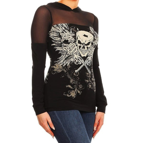 Women Black Sheer Long Sleeves Hoodie Rhinestones Skull Rose Top Shirt
