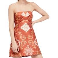 Free People Orange Women's Size 12 Patterned Strapless Dress