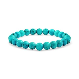 Bling Jewelry Gemstone Blue Reconstituted Turquoise Bead Stretch Bracelet 8mm