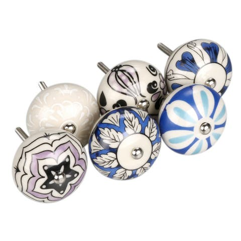 6xHand Painted Ceramic Door Knobs Cabinet Drawer Wardrobe Pull Handles