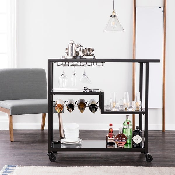 Holly & Martin Zephs Black Bar Cart with Smoked Mirror Surfaces. Opens flyout.