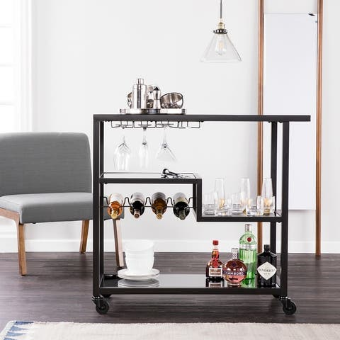 Holly & Martin Zephs Black Bar Cart with Smoked Mirror Surfaces