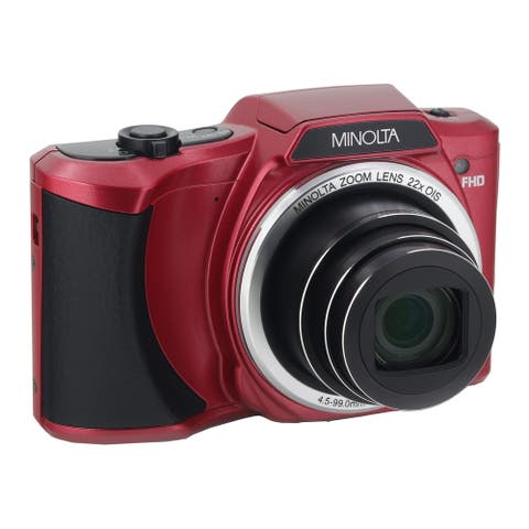 Minolta 20 Mega Pixels Wifi Digital Camera with 22x Optical Zoom & HD Video with 3.0-Inch LCD (Red)