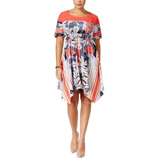 NY Collection Womens Plus Casual Dress Handkerchief Hem Floral Printed