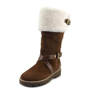 Michael Michael Kors Fawn Boot Women  Round Toe Suede Tan Winter Boot
