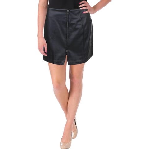 French Connection Womens Filomena Mini Skirt Faux Leather Zip Front