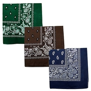 Paisley 3 piece Assorted Cotton Bandanas (Hun_Green / DK_Brown / Navy)